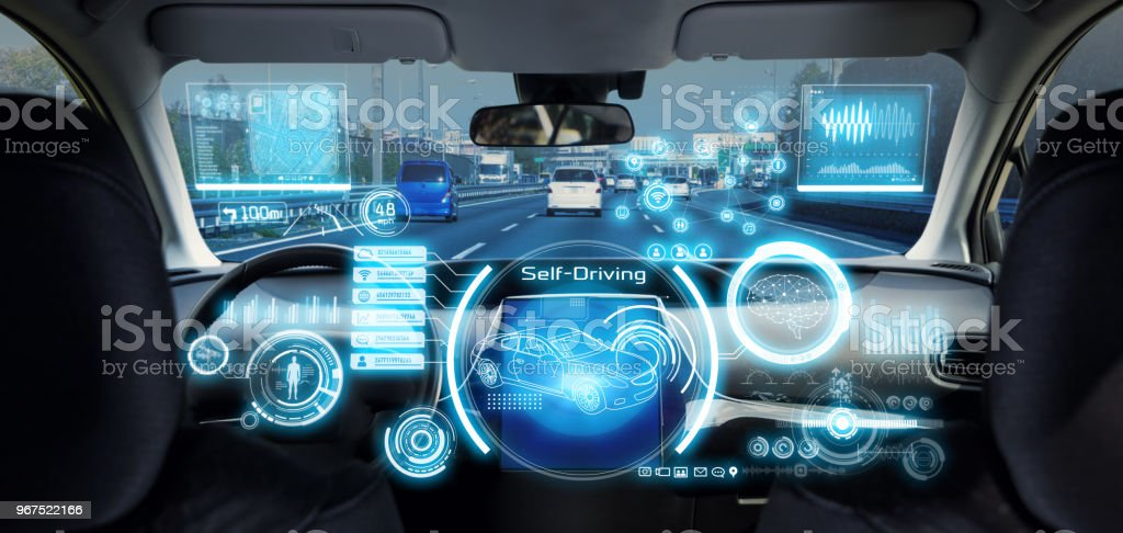 Cockpit of futuristic autonomous car. Cockpit of futuristic autonomous car. Artificial Intelligence Stock Photo