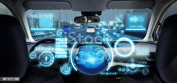 istock Cockpit of futuristic autonomous car. 967522166