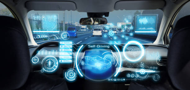 Cockpit of futuristic autonomous car. stock photo
