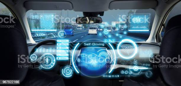 Cockpit Of Futuristic Autonomous Car Stock Photo - Download Image Now