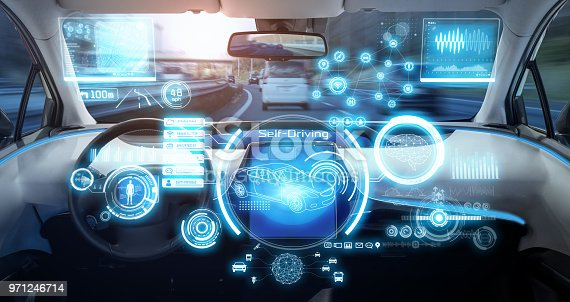 istock Cockpit of futuristic autonomous car. 971246714