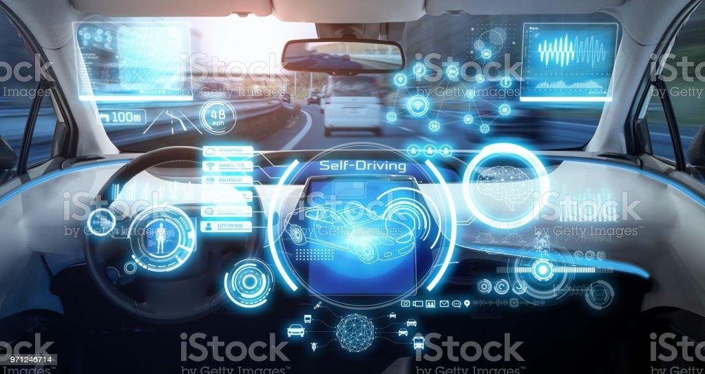 Cockpit av futuristiska autonoma bil. bildbanksfoto