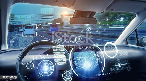 913581100 istock photo Cockpit of futuristic autonomous car. 971246808