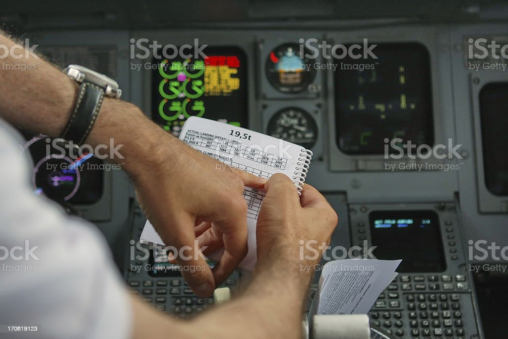 Cockpit of mothern commercial airplane...pilot at work,piloting royalty-free stock photo