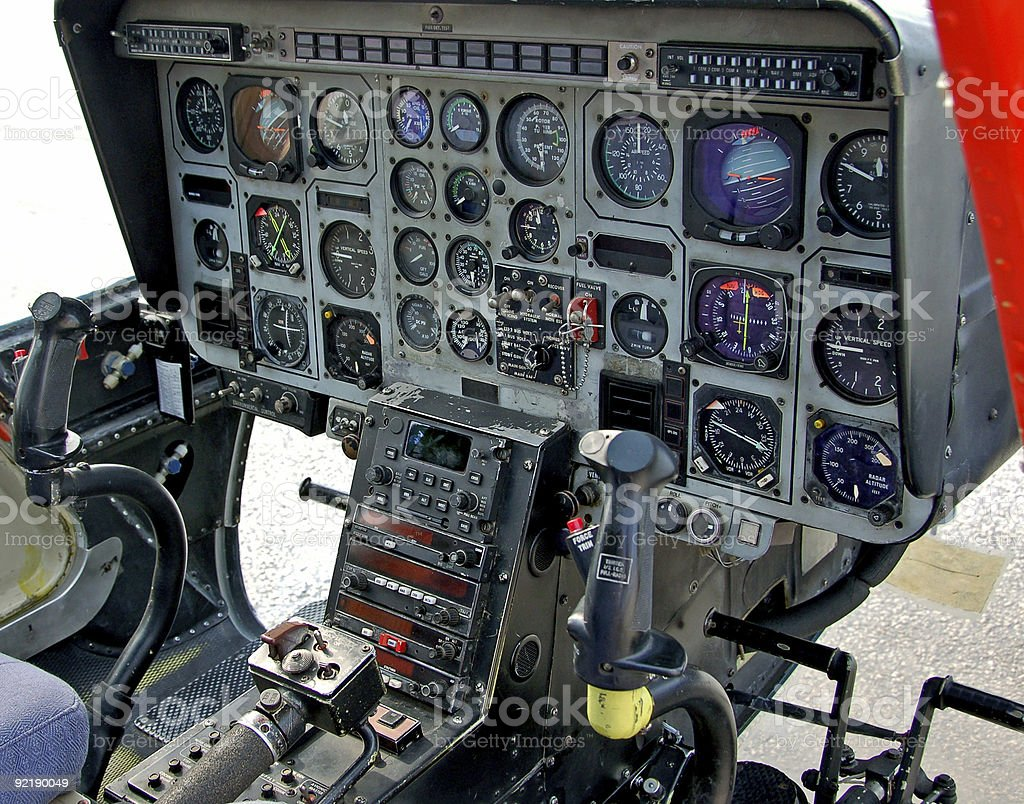 Cockpit of navy training helicopter royalty-free stock photo