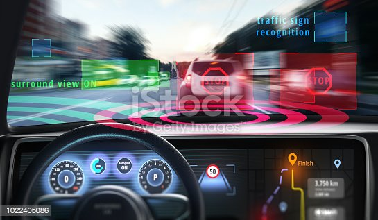 istock Cockpit of self-driving car. 1022405086