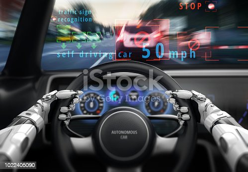 istock Cockpit of self-driving car. 1022405090