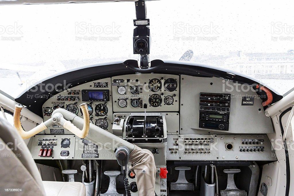 Cockpit of single engine propeller plane stock photo