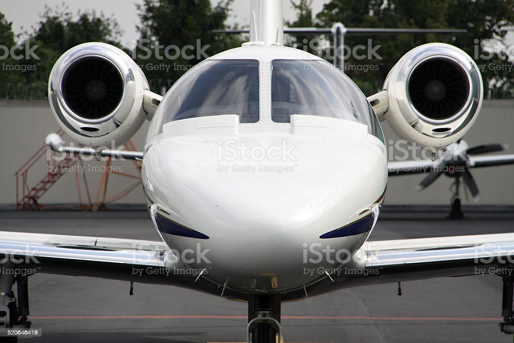 Cockpit of small business jet stock photo