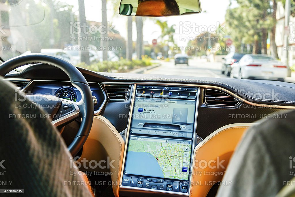 Cockpit of Tesla Model S car royalty-free stock photo