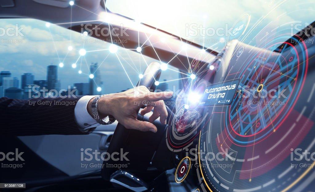 Cabina del concepto coche autónomo. Coche sin conductor. Uno mismo-conducción de vehículo. UGV. - Foto de stock de Adulto libre de derechos