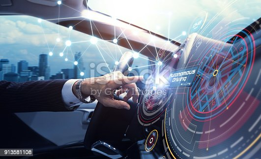 829191978 istock photo Cockpit of the autonomous car concept. Driverless car. Self-driving vehicle. UGV. 913581108