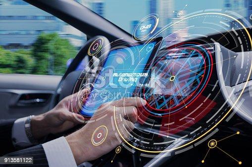913581100 istock photo Cockpit of the autonomous car concept. Driverless car. Self-driving vehicle. UGV. 913581122