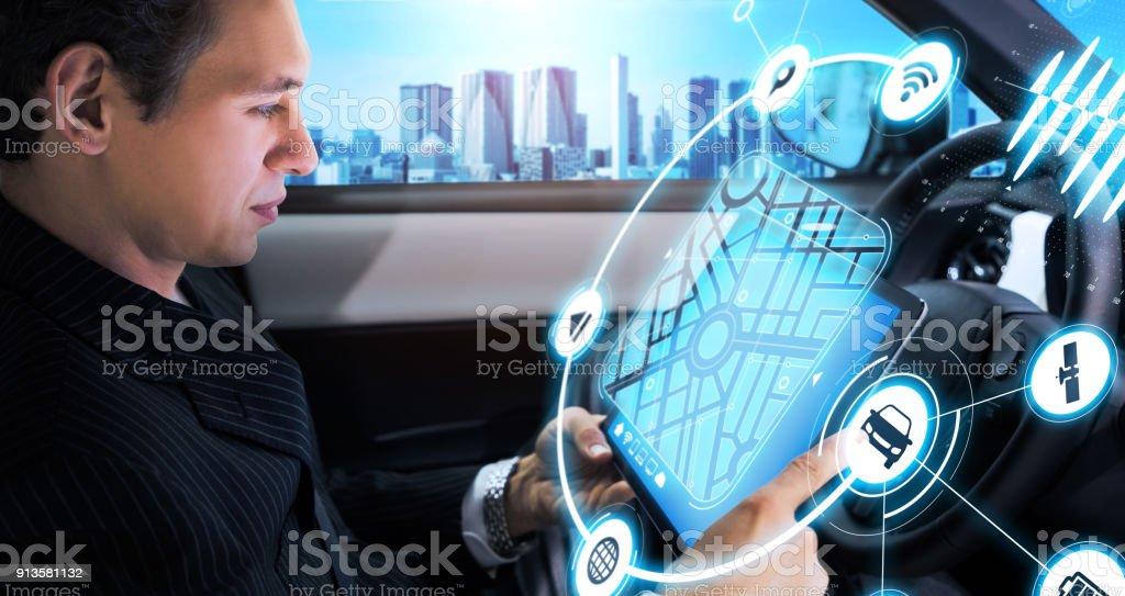 Cockpit av begreppet autonoma bil. Förarlös bil. Självkörande fordon. UGV. bildbanksfoto