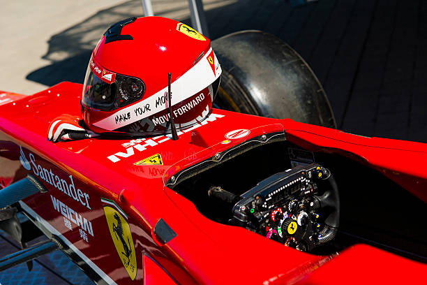 cockpit of the ferrari f1  bolide on display - formula 1 stok fotoğraflar ve resimler