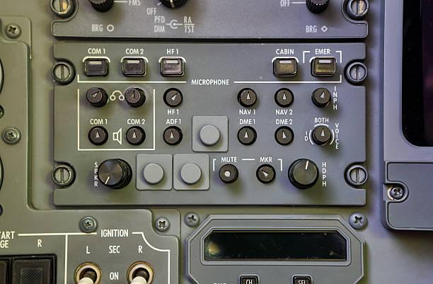 Cockpit radio control panel stock photo