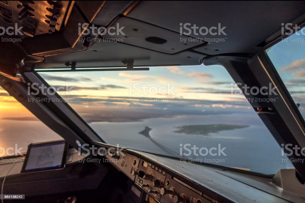 Cockpit view on sea and sunset royalty-free stock photo