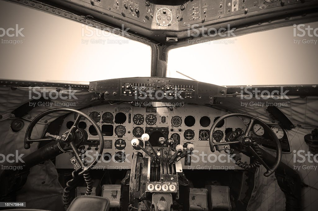 Cockpit Vintage stock photo