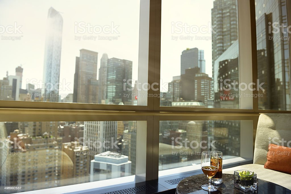 Cocktail and Beer, Manhattan, NYC. stock photo