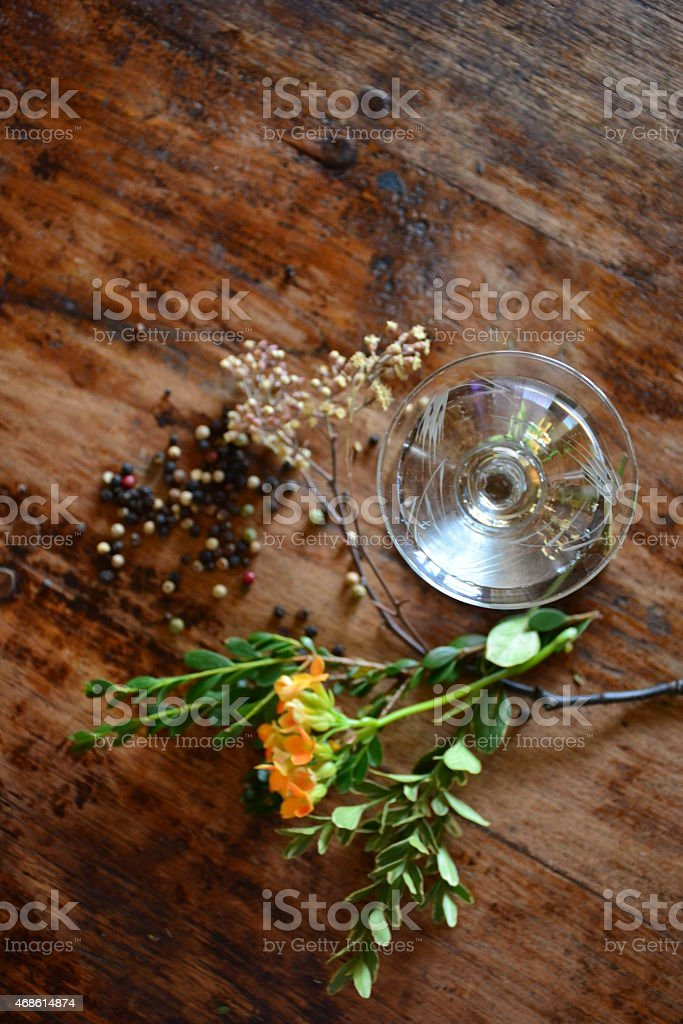 cocktail and botanicals stock photo