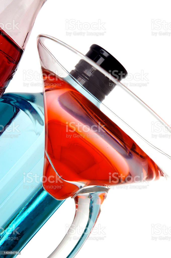 Cocktail and bottles royalty-free stock photo