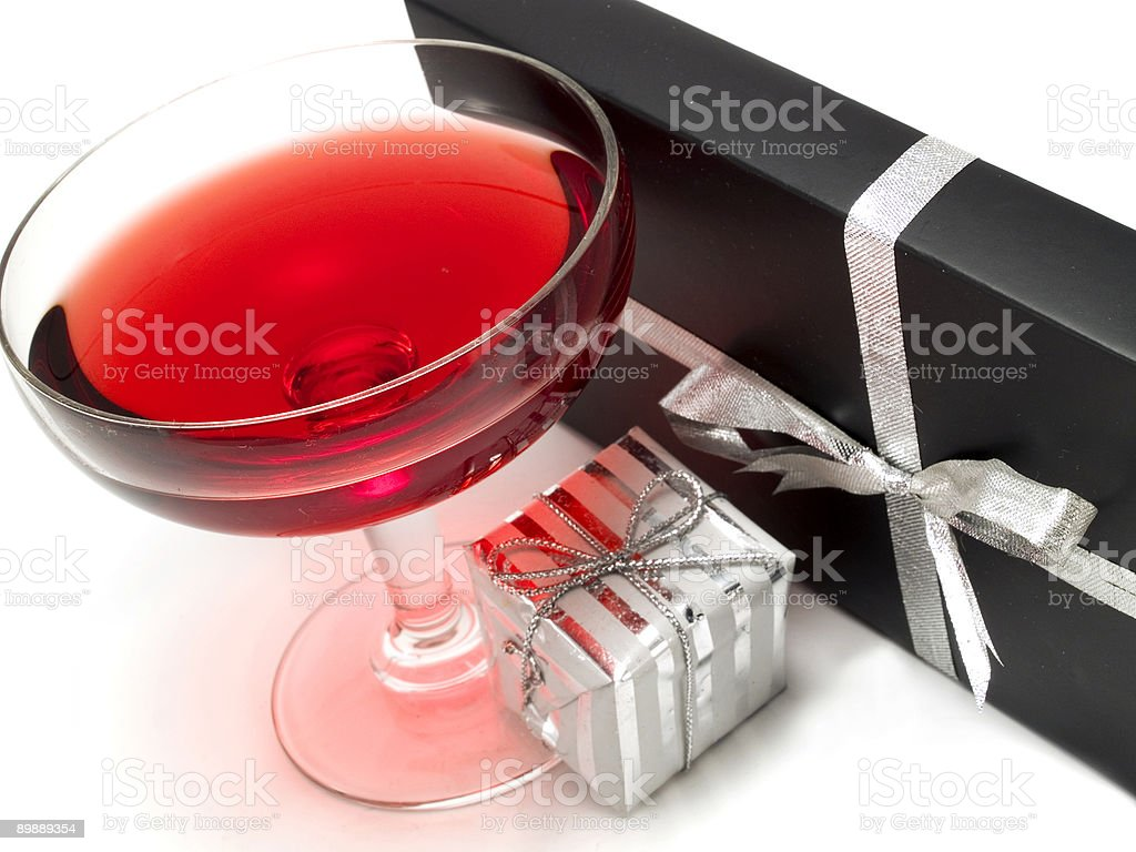 Cocktail and gifts royalty-free stock photo