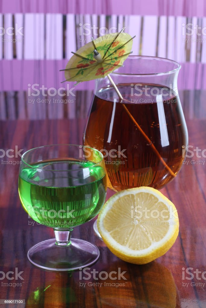 Cocktail and lemon royalty-free stock photo