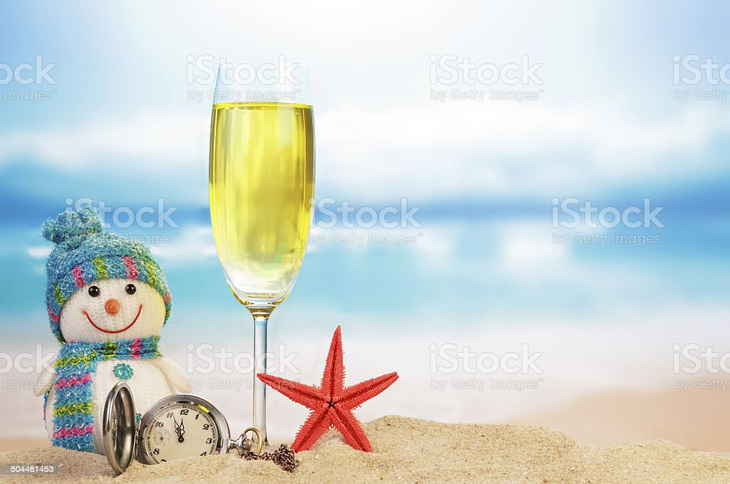 Cocktail and snowman stock photo