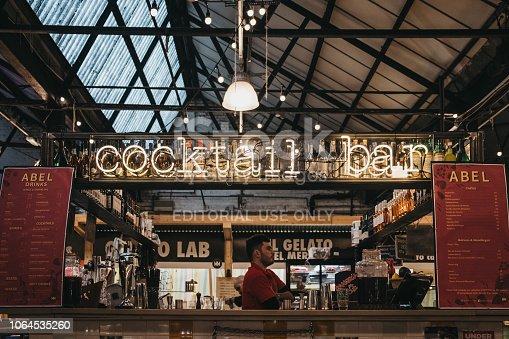 istock Cocktail Bar in Mercato Metropolitano market in London, UK. 1064535260