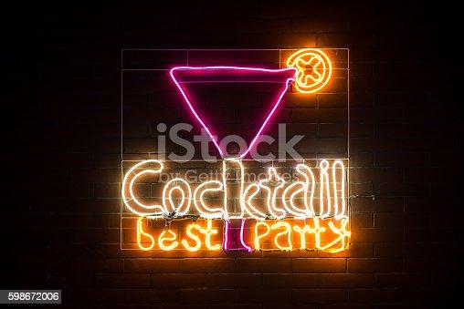 511875398 istock photo Cocktail bar neon sign 598672006