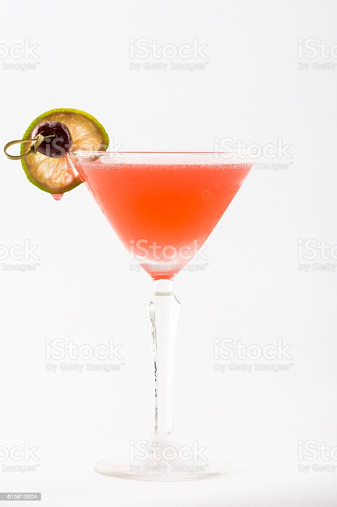 cocktail beverage with lime and berry stock photo