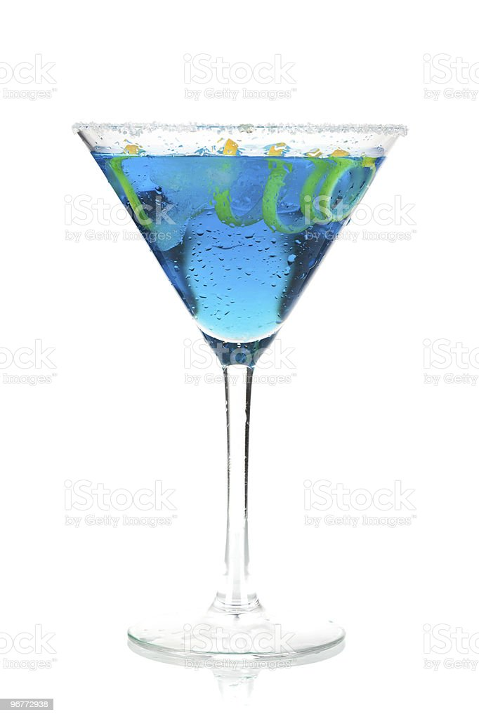 Cocktail collection - Blue martini with lemon spiral royalty-free stock photo
