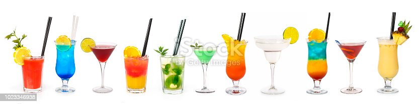 Large group of over 10 cocktails isolated on white background - Bloody Mary, Blue Lagoon, Cosmopolitan, Tequila Sunrise, Mojito, Grasshopper, Sex on the beach, Margarita, Rainbow, Rob Roy, Pina Colada.