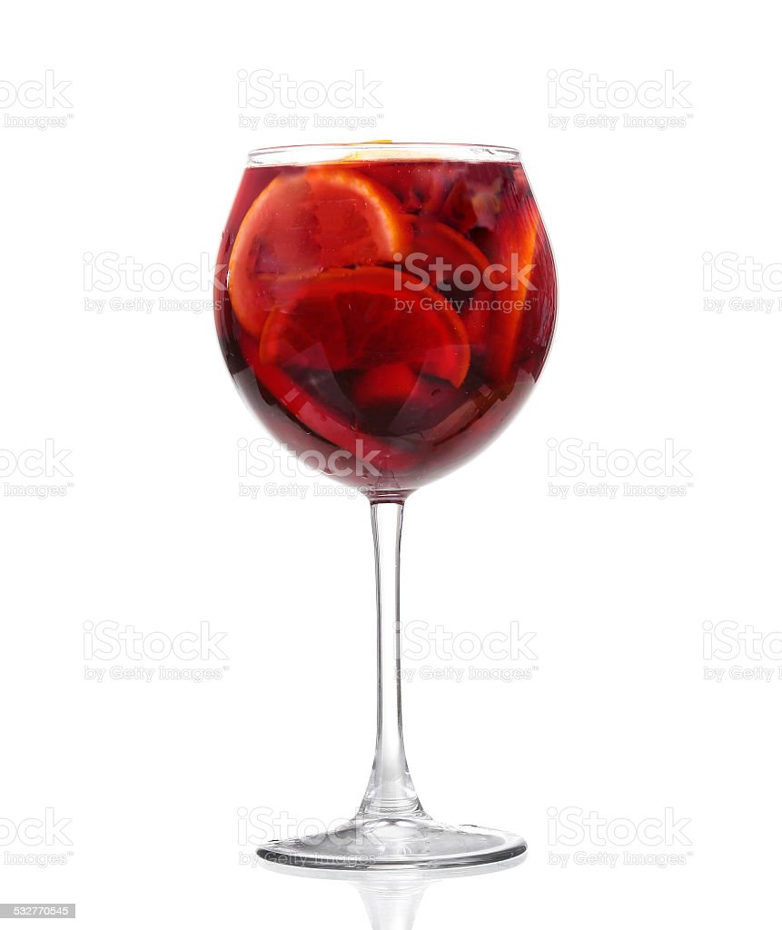 Cocktail collection: Refreshing fruit sangria (punch) isolated on white background stock photo