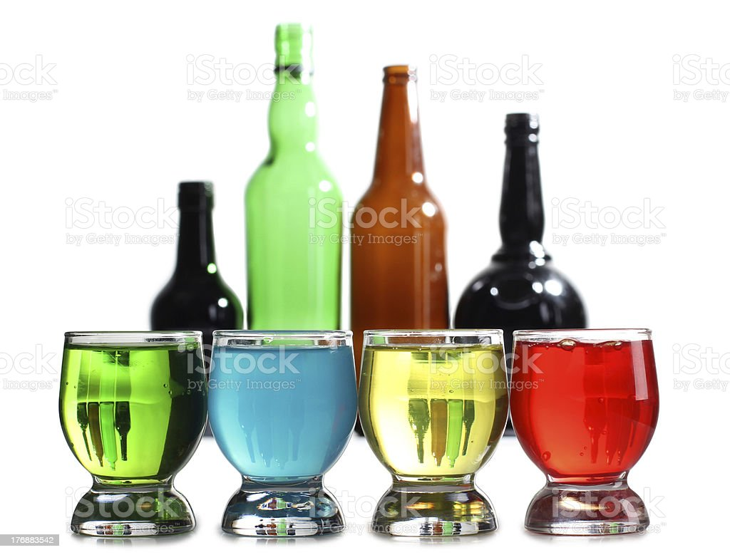 Cocktail cups and bottle royalty-free stock photo