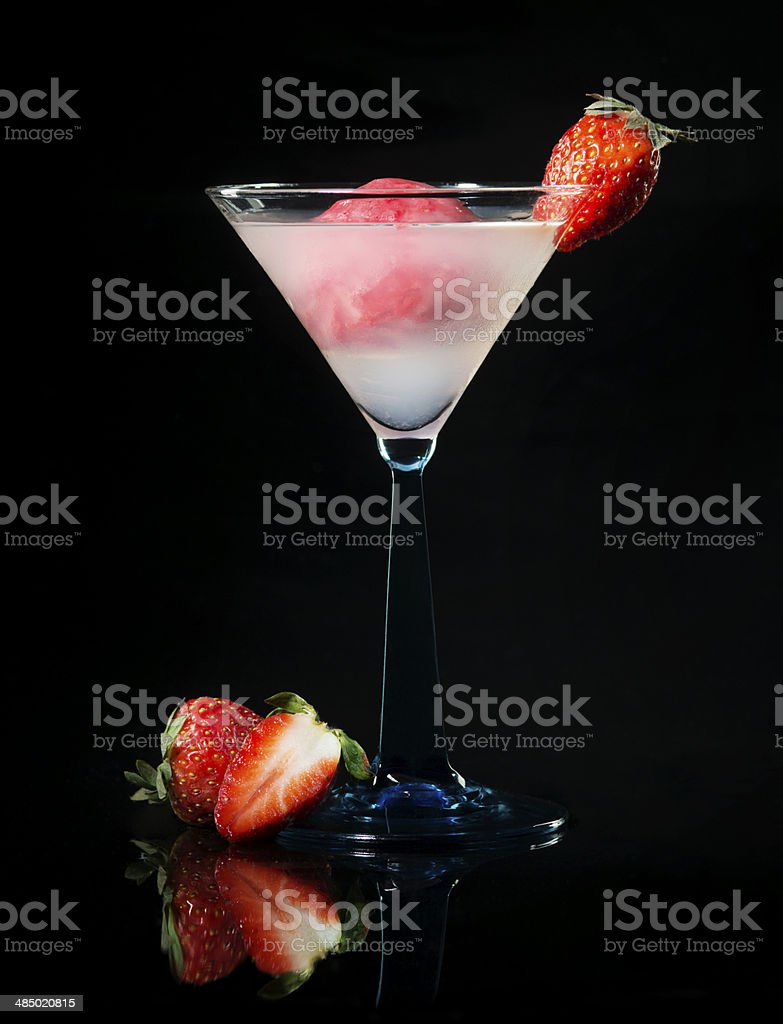 Cocktail Drink. Ice cream, Strawberry. Nonalcoholic. Black Background. royalty-free stock photo