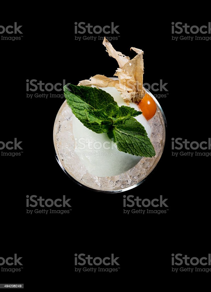 Cocktail Drink on Black Background. Ice cream, Menthe, Honeysuckle. royalty-free stock photo