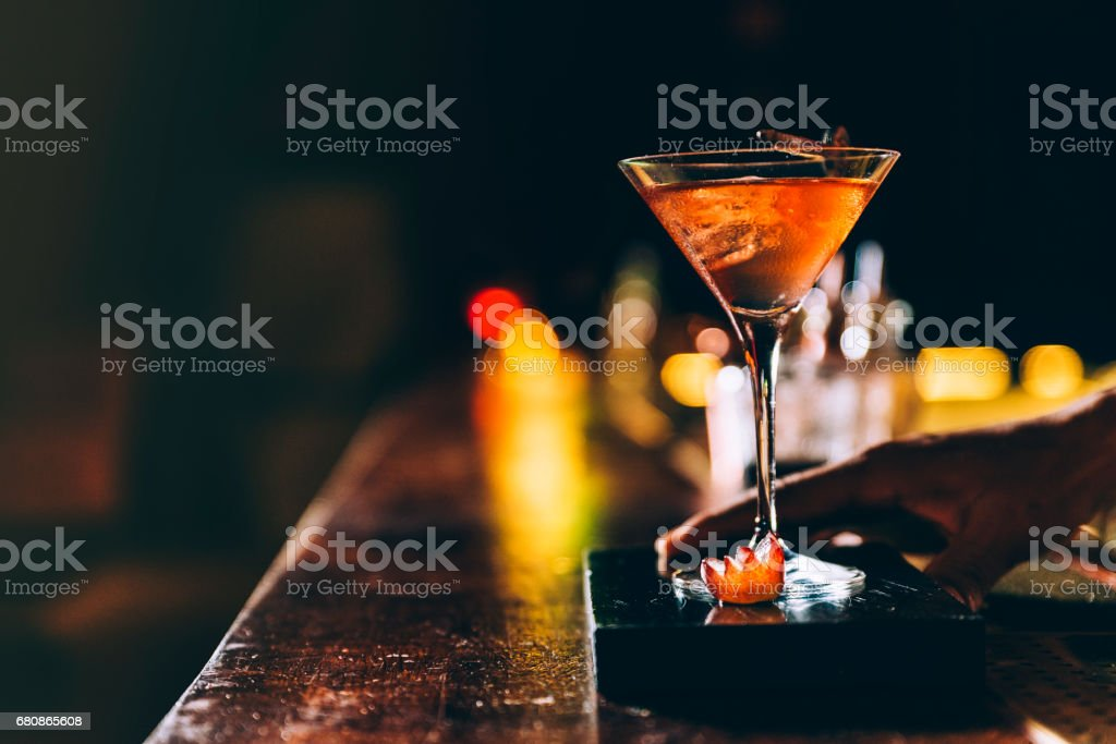 Cocktail drink on night club. stock photo