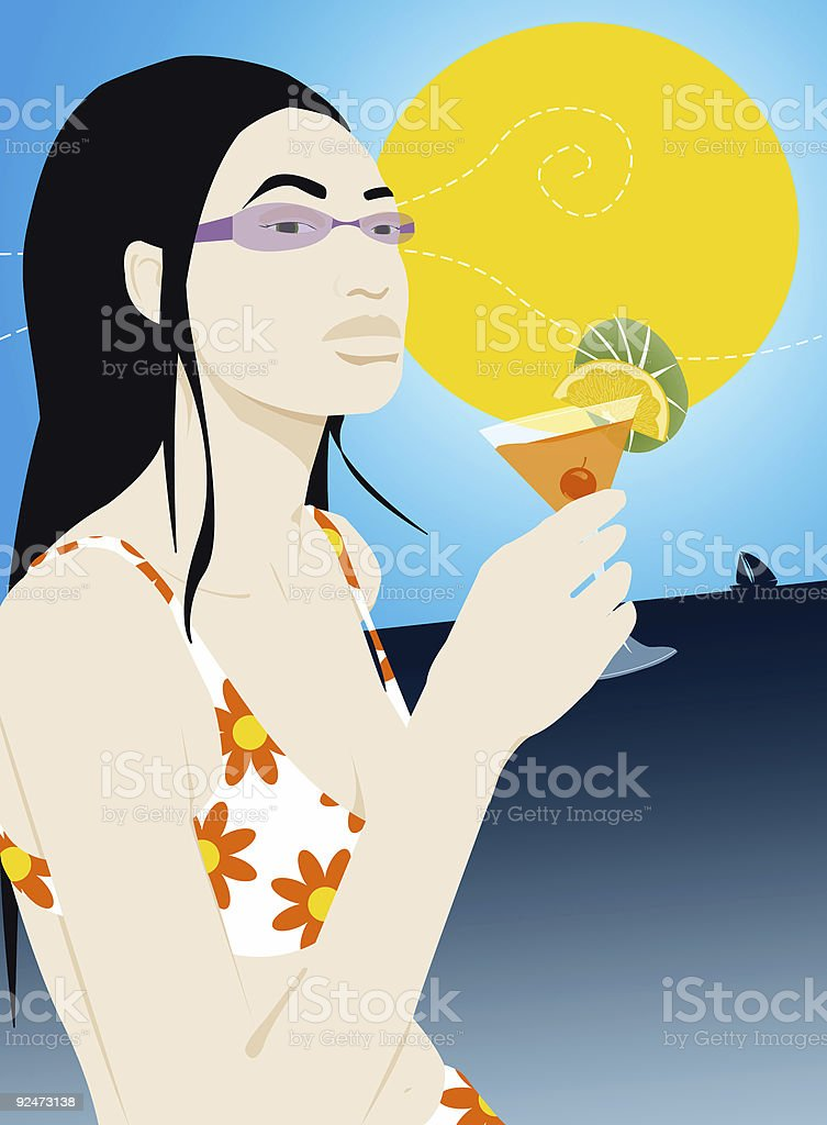 cocktail girl [ summer party ] cruise royalty-free stock photo