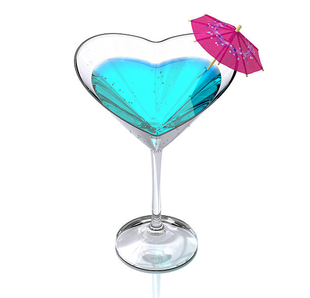 cocktail glass heart-shaped stock photo