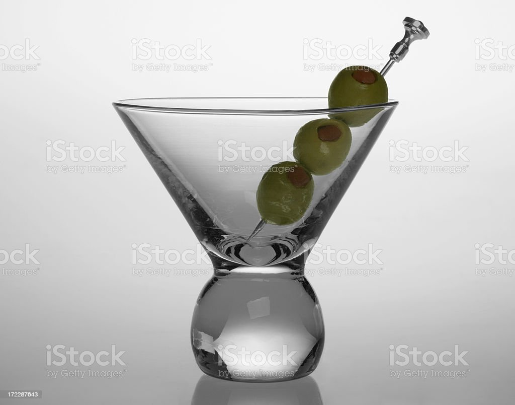 Cocktail Glass with Olives royalty-free stock photo
