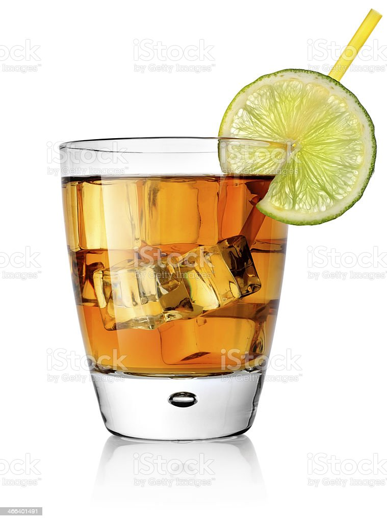 Cocktail in tumbler with slice of lime stock photo