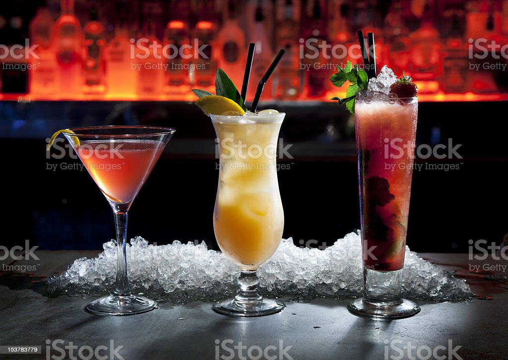 Cocktail lineup stock photo