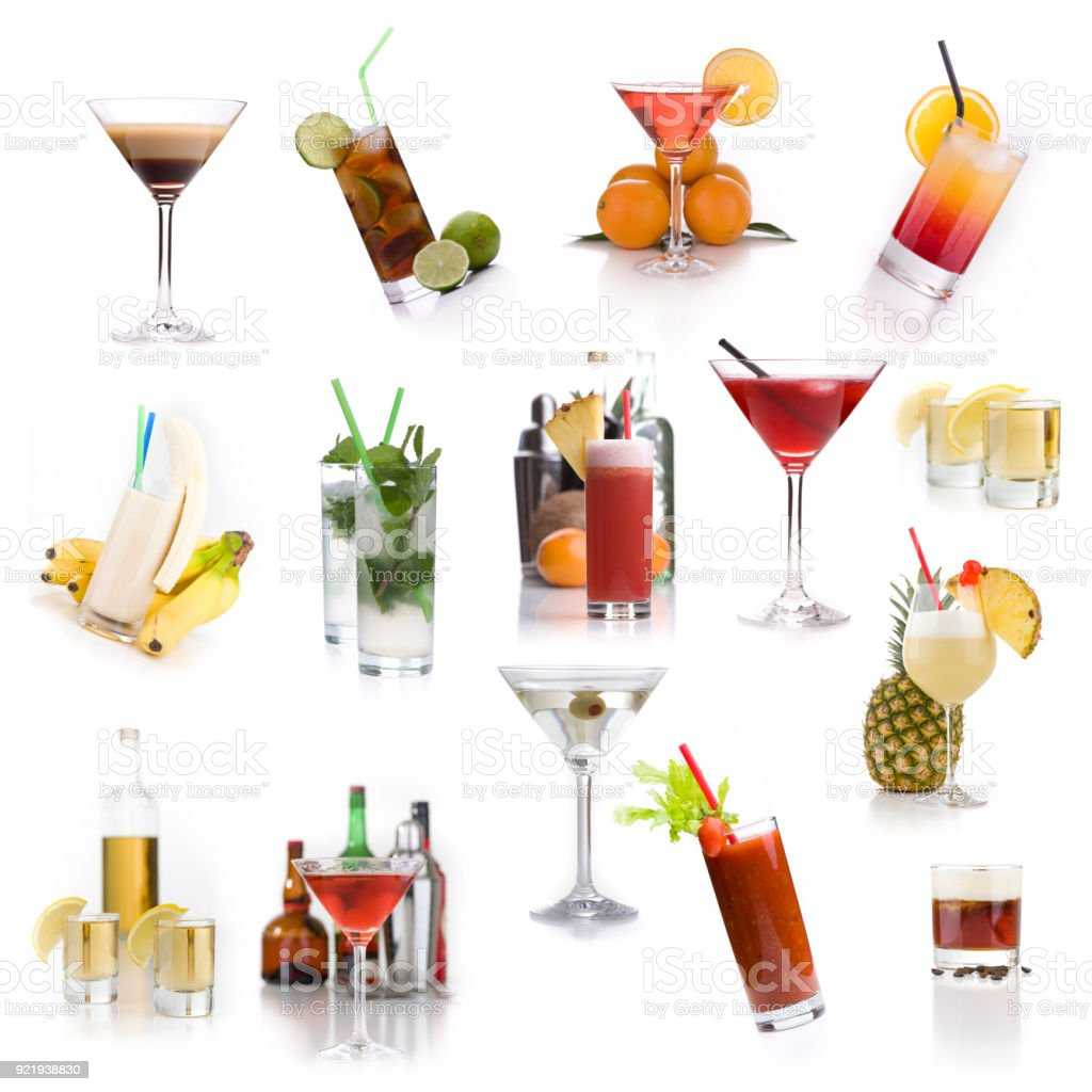 Cocktail menu - Lots of different classic cocktails stock photo