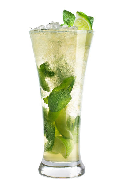 Cocktail mojito in a high glass on a white background Cocktail mojito in a high glass on a white background, isolated mojito stock pictures, royalty-free photos & images