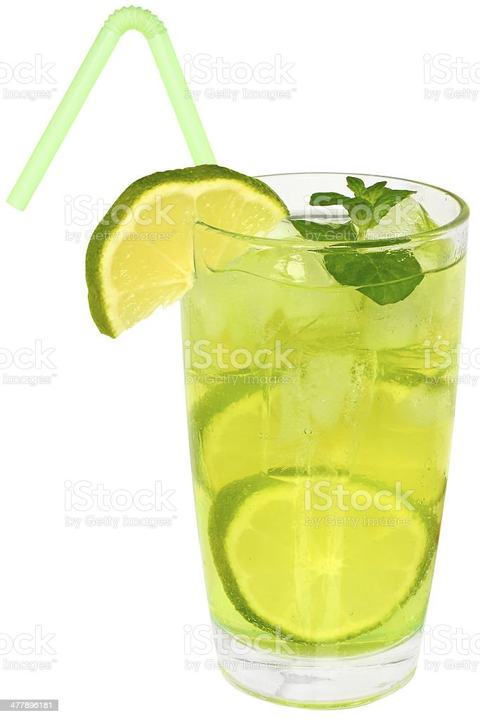 Cocktail mojito with lime and ice cubes royalty-free stock photo