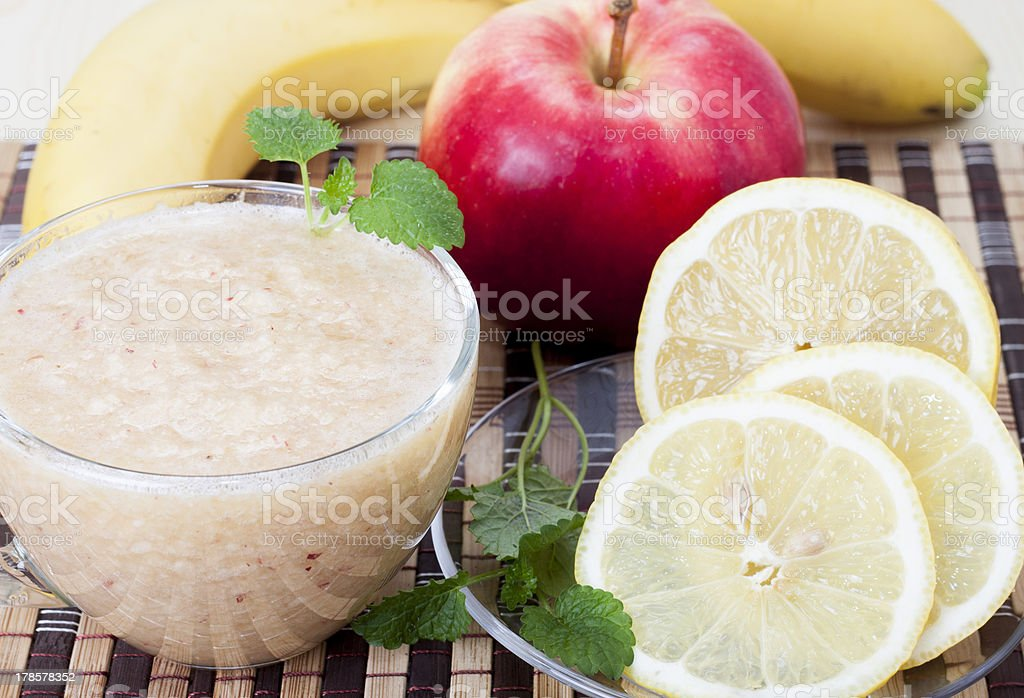 Cocktail of apple, banana and lemon. royalty-free stock photo