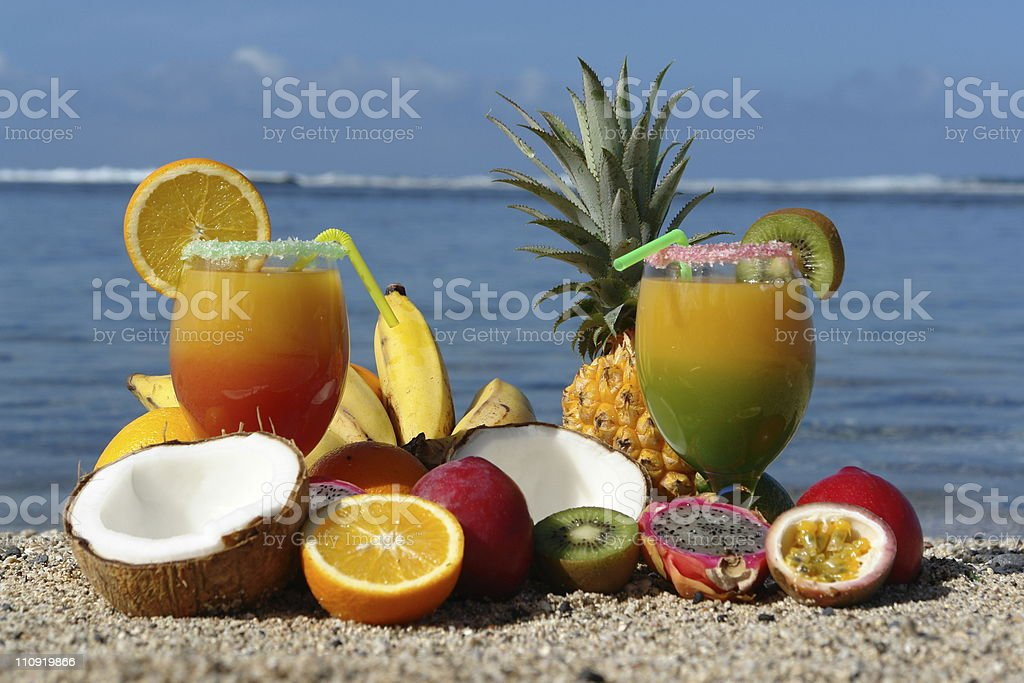 cocktail on a sand beach royalty-free stock photo