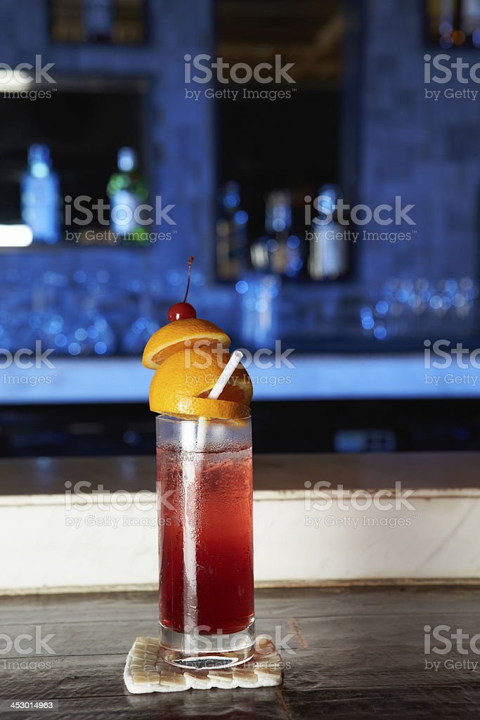 Cocktail On Coaster In Bar royalty-free stock photo
