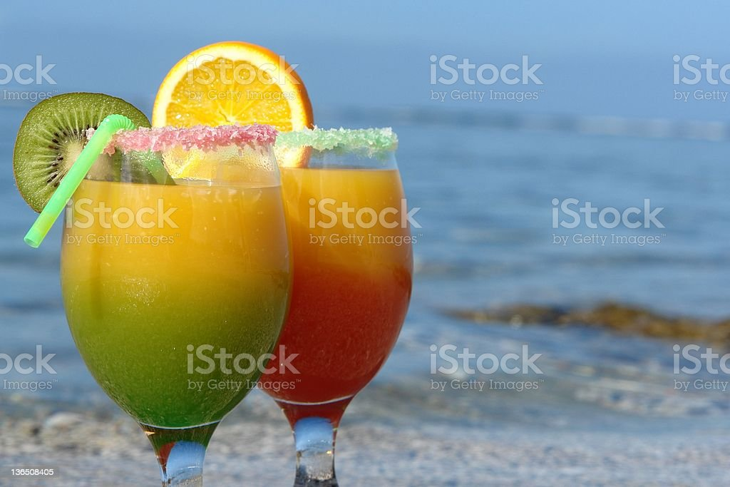 cocktail on the beach royalty-free stock photo